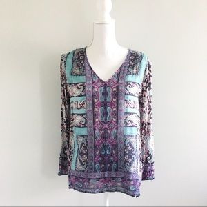 Lucky Brand Paisley Tunic Style Blouse